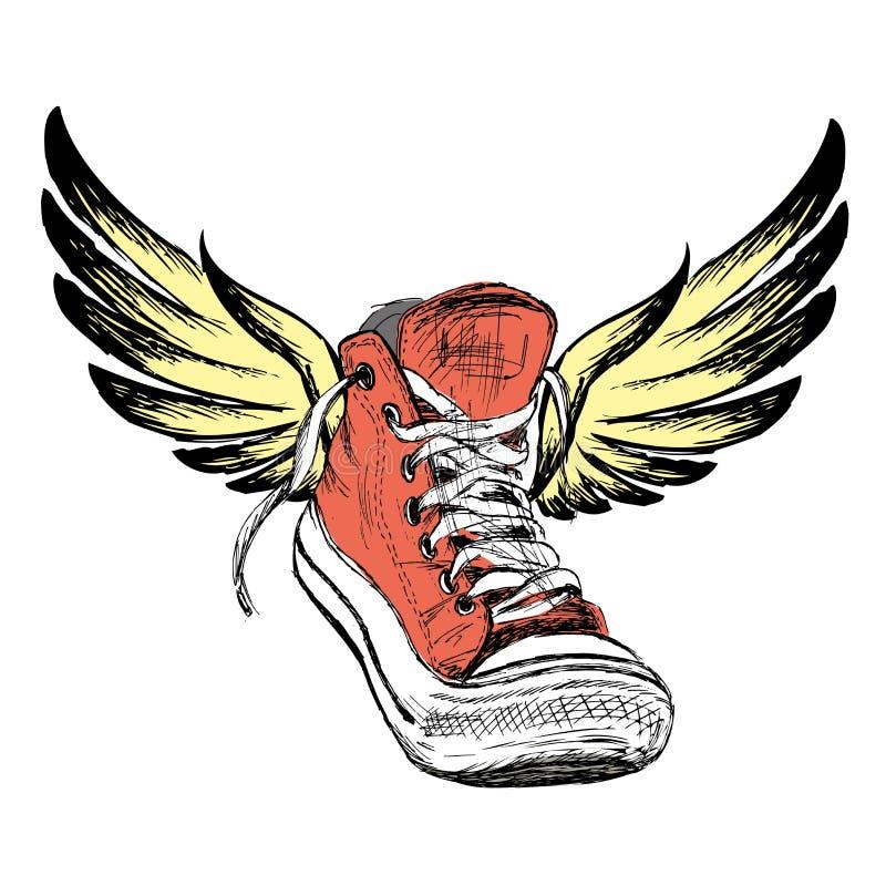 Tennisschoenen met vleugels op witte achtergrond worden geïsoleerd die, vector illustratie