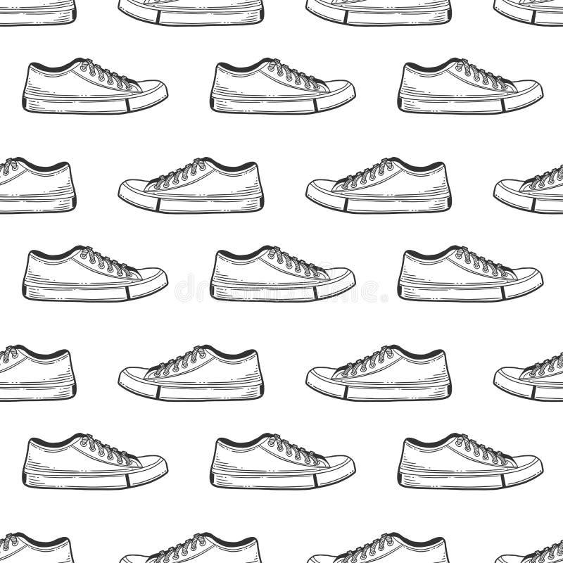 Tennisschoenenschoenen Vectorconcept in krabbel en schetsstijl Hand getrokken illustratie voor druk op T-shirts, prentbriefkaaren royalty-vrije illustratie