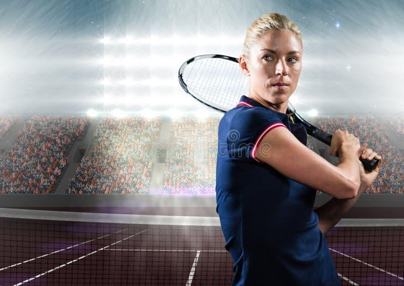 Tennisspelare på domstolen med åhörare royaltyfri bild