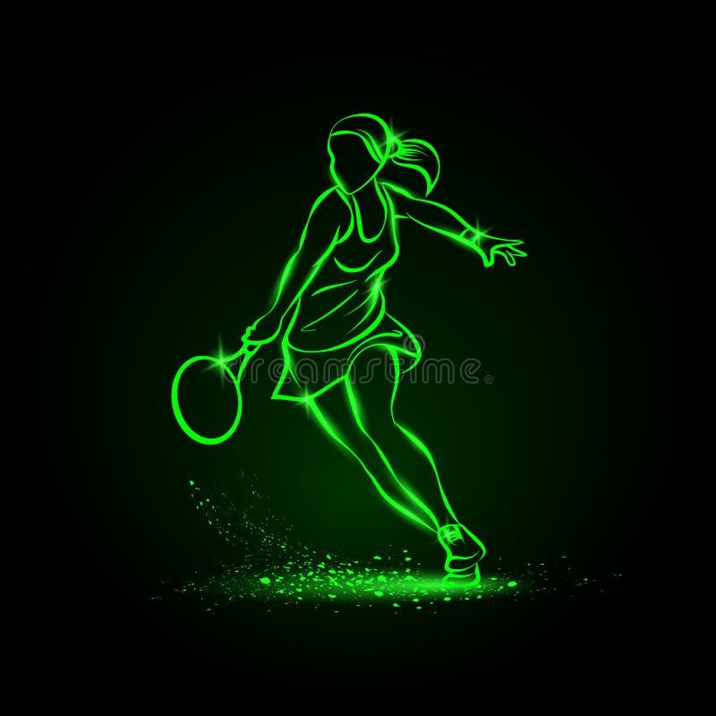 Tennisspelareillustration för yrkesmässig kvinna Grön linjär neontennisspelare på svart bakgrund royaltyfri illustrationer