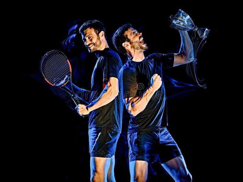 Tennisspelaremanljus som målar isolerad svart bakgrund royaltyfria foton