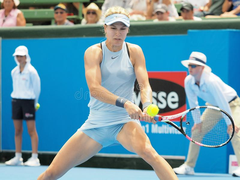 Tennisspelaren Eugenie Bouchard som förbereder sig för det australiskt, öppnar på Kooyong den klassiska utställningturneringen royaltyfria bilder
