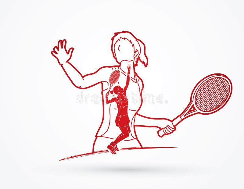 Tennisspelaresportkvinna vektor illustrationer