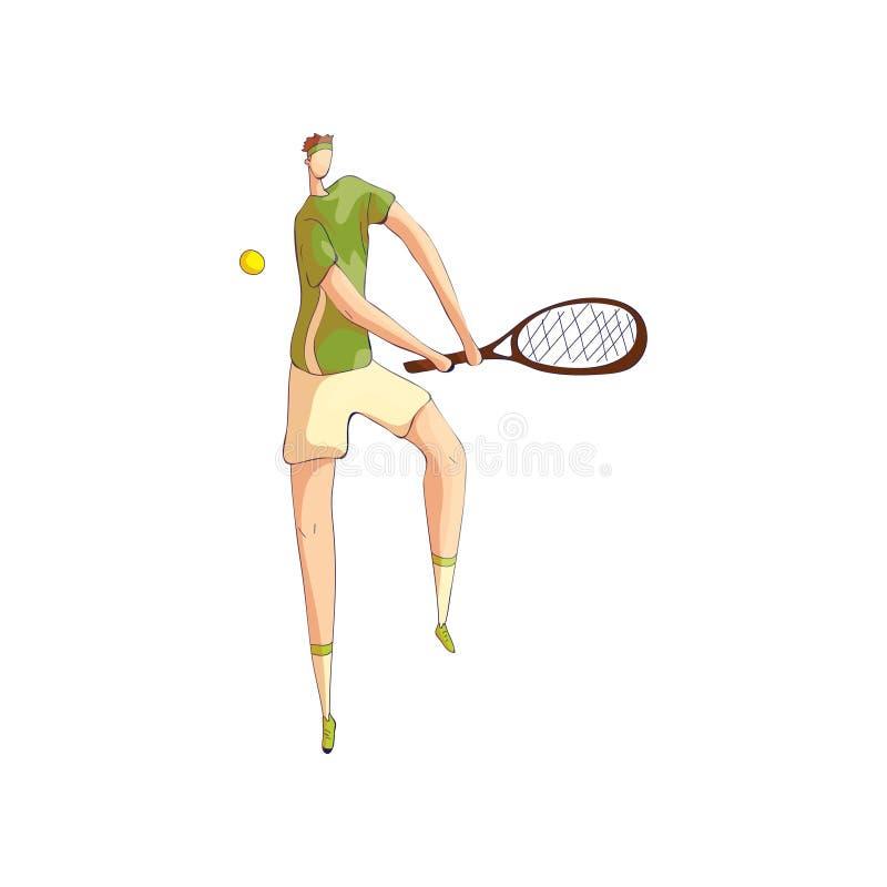 Tennisspelaretakter av bollen, medan rymma racket med båda händer white f?r vektor f?r bakgrundsillustrationhaj vektor illustrationer