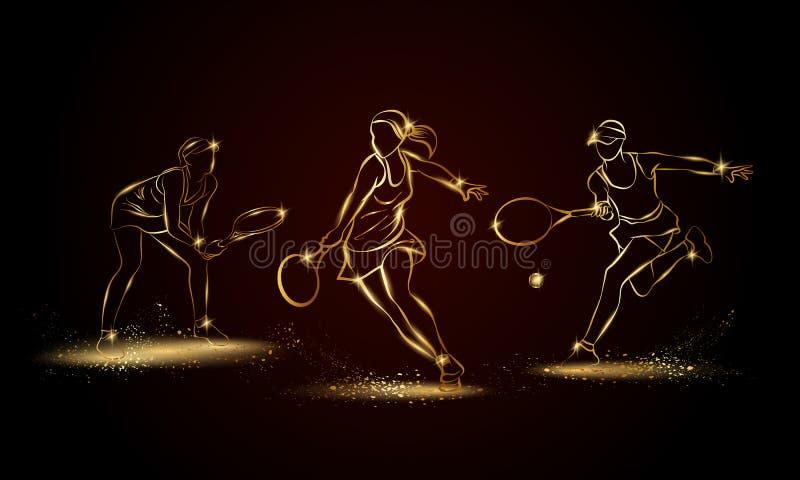 Tennisspelareuppsättning för yrkesmässig kvinna Guld- linjär tennisspelareillustration för sportbaner vektor illustrationer