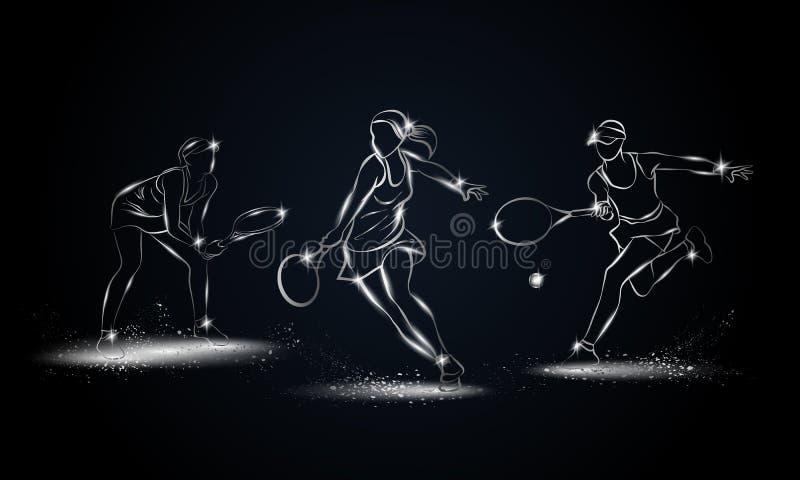 Tennisspelareuppsättning för yrkesmässig kvinna Metallisk linjär tennisspelareillustration för sportbaner royaltyfri illustrationer