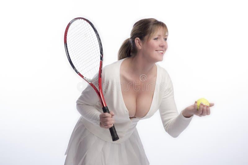 Tennisspeler die laag besnoeiingsoverhemd dragen stock afbeeldingen