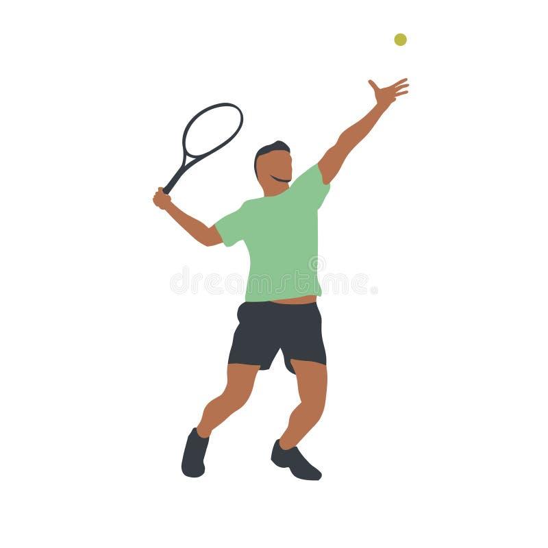 Tennisspeler geïsoleerde vectortekening stock illustratie