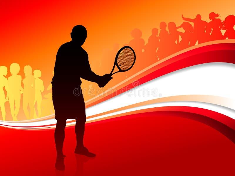 Tennisspeler met Rode Abstracte Menigte vector illustratie