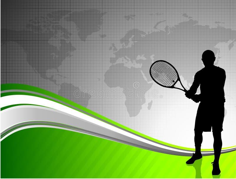 Tennisspeler met Wereldkaart royalty-vrije illustratie