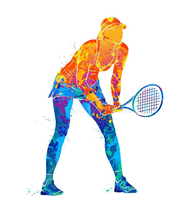 Tennisspeler, silhouet stock illustratie