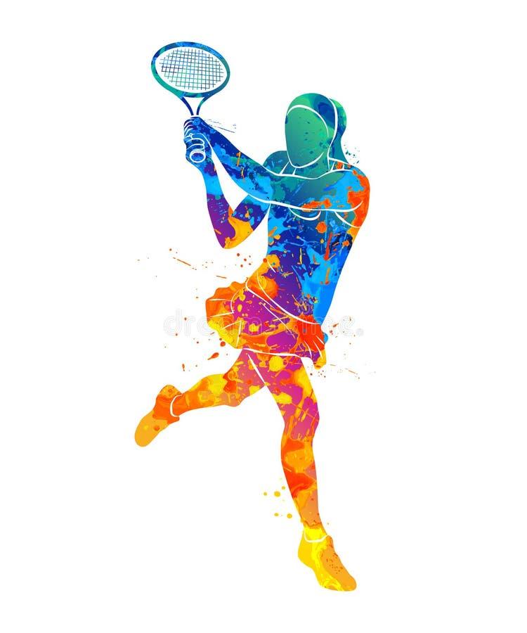 Tennisspeler, silhouet vector illustratie