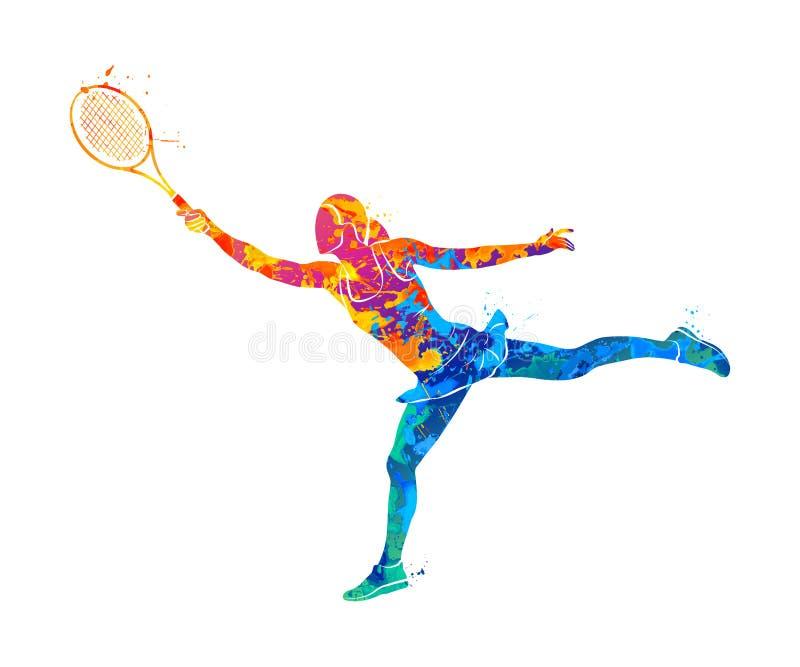Tennisspeler, silhouet royalty-vrije illustratie