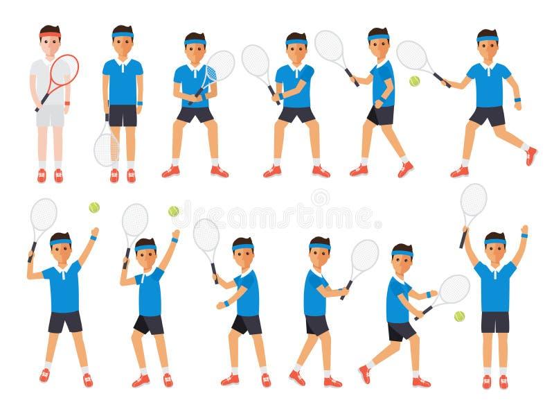 Tennisspelers, de atleten van de tennissport in acties stock illustratie