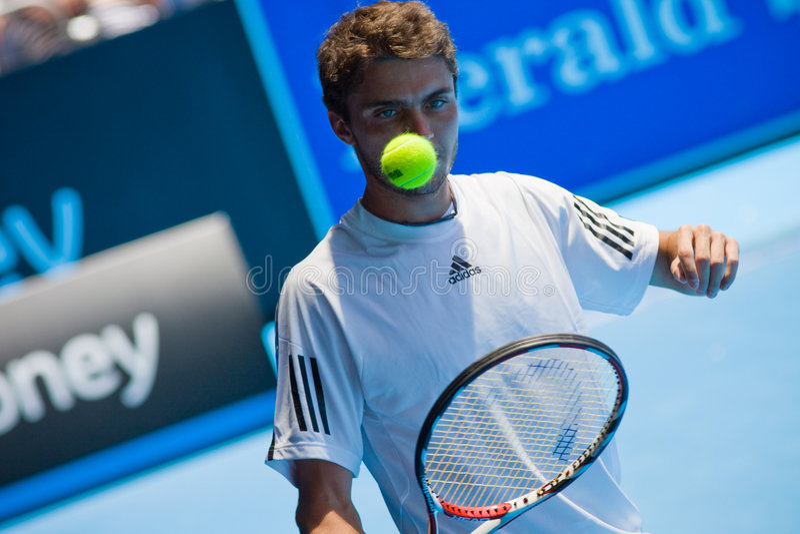 Tennisspieler Gilles Simon lizenzfreie stockfotografie