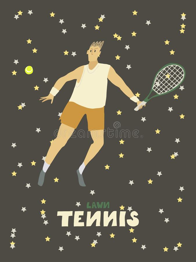 Tennisspieler-Kerl Mann mit Schl?ger und Ball lizenzfreie abbildung
