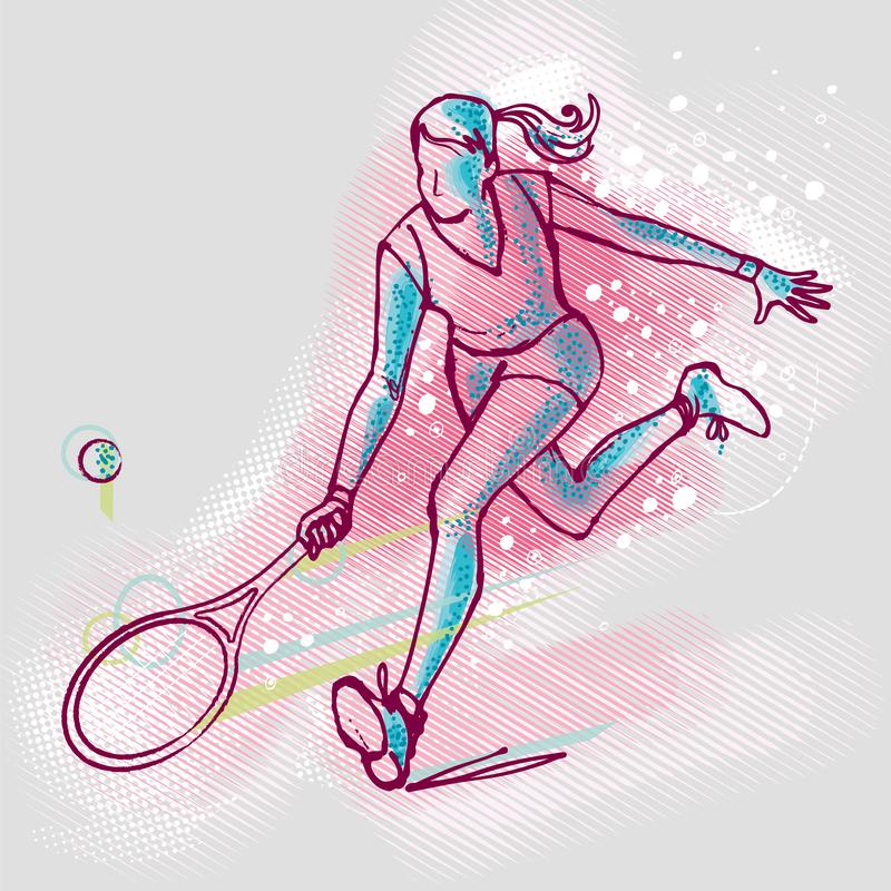 Tennisspielermädchen auf Grafiken Hintergrund, Vektorbild lizenzfreie abbildung