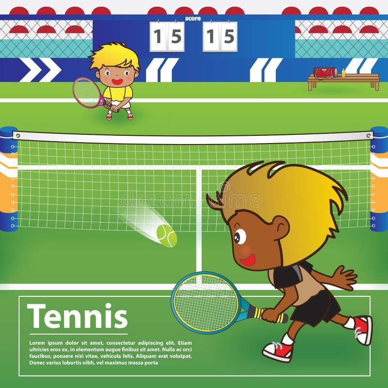 Tennissport met het ontwerp van beeldverhaalkarakters stock foto's