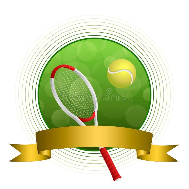 Tennissportballillustrationsgoldband-Kreisrahmen des Hintergrundes abstrakter grüner stock abbildung