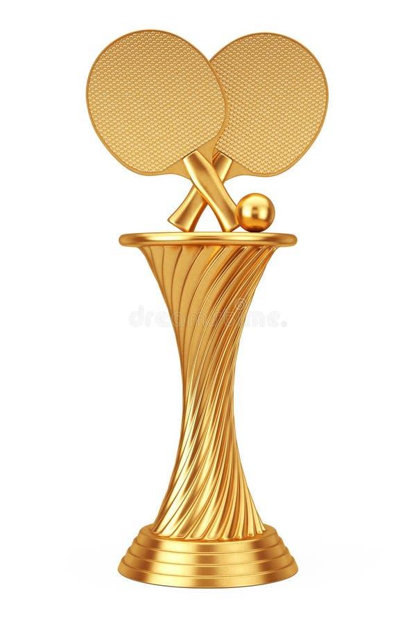 Tennisutmärkelsebegrepp Guld- racke för tennis för utmärkelsetrofébordtennis stock illustrationer