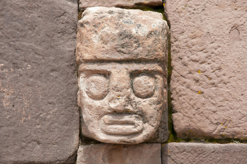 Tenon Head - Tiwanaku - Bolivia. Tenon Head in Tiwanaku - Bolivia royalty free stock photos