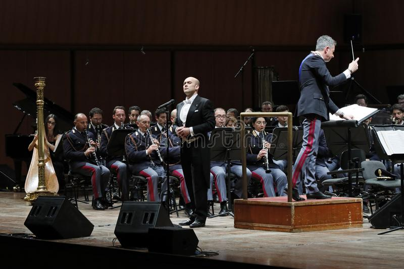 The tenor Aldo Caputo. Rome, Italy - 11 December 2017: the tenor Aldo Caputo performs on the stage of the Auditorium Parco della Musica, on the occasion of the royalty free stock images