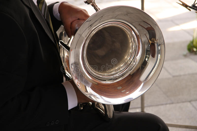 Tenor Horn Player. At an open air Concert in Germany stock photo