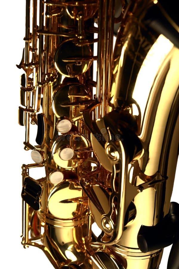 Tenor Sax. The keys and bell of a tenor saxophone stock photos
