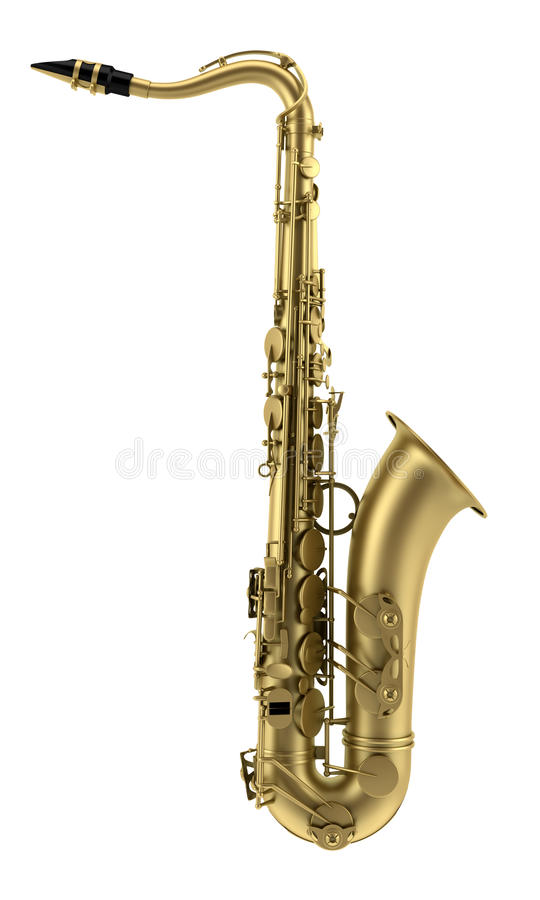 Tenor saxophone isolated on white. Background royalty free stock photos