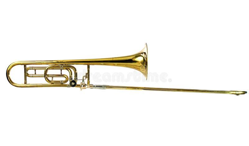 Tenor Trombone Vertical. Brass Tenor Trombone Isolated on White stock image