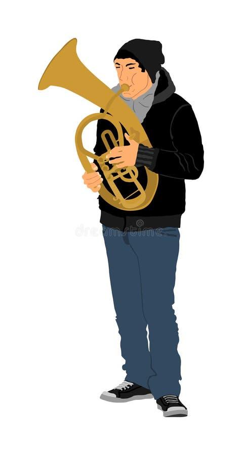 Tenorowa rogu gracza ilustracja Muzycznego artysty mężczyzna Jazzowy saxhorn Fanfarzysta ulicy wykonawca Muzyk sztuki trąbka ilustracja wektor