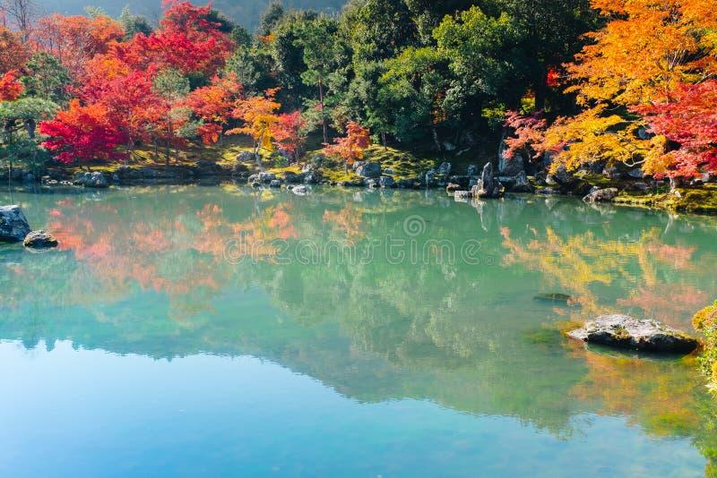 Tenryu-ji świątynia i Sogenchi ogród z jesienią przyprawiamy kolorowego obraz stock
