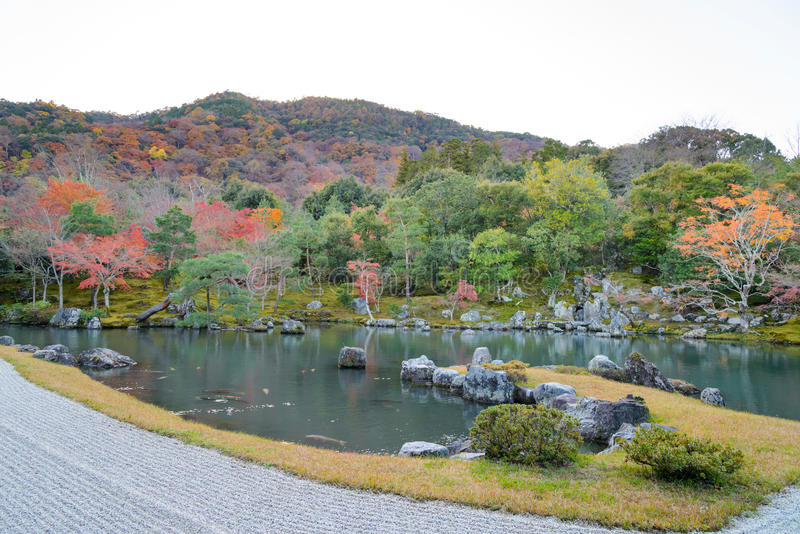 Tenryuji Temple in Autumn season stock photos