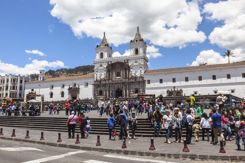 Tens of tourists visit the Plaza de San Francisco royalty free stock photo