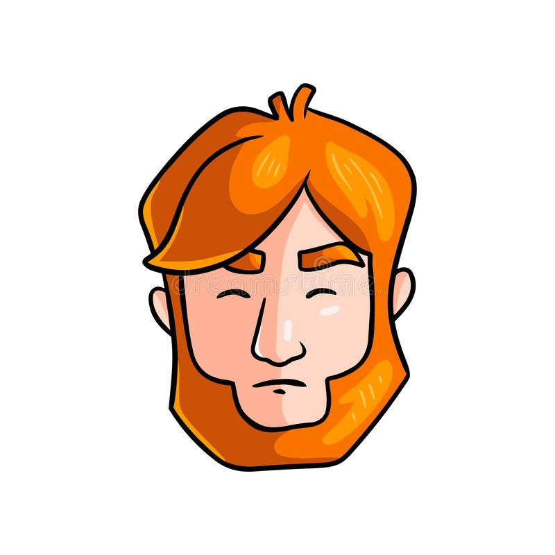 Tense face of redhead man in stress situation in family stock illustration