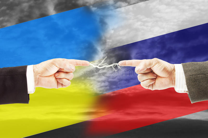 Tense relations between Russia and Ukraine. Concept of conflict and stress stock images