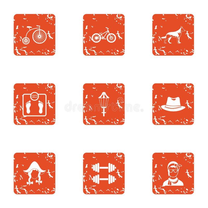 Tense situation icons set, grunge style stock illustration