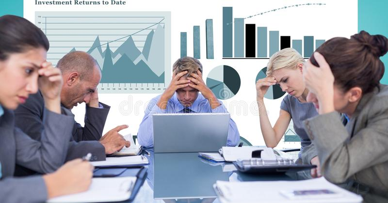 Tensed business people with head in hands against graphs stock illustration