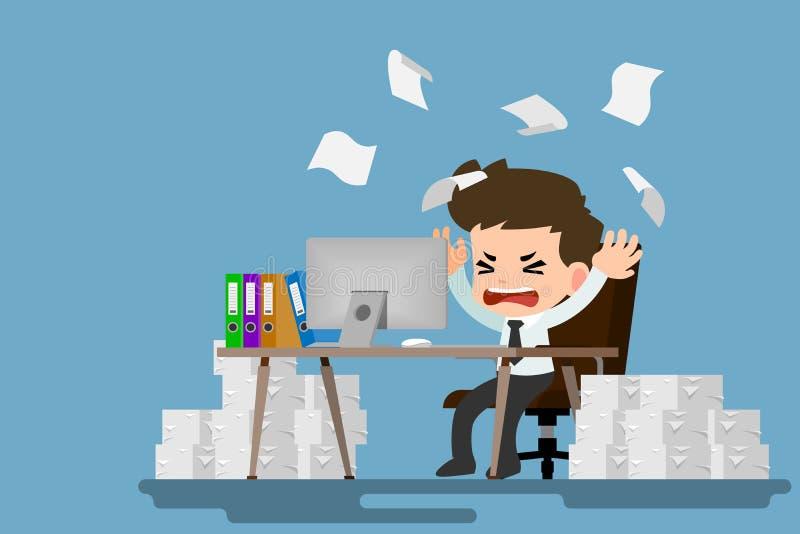 Tensión del hombre de negocios en el escritorio por mucho trabajo Carácter del empleado con la pila de papel que trabaja muy difí stock de ilustración