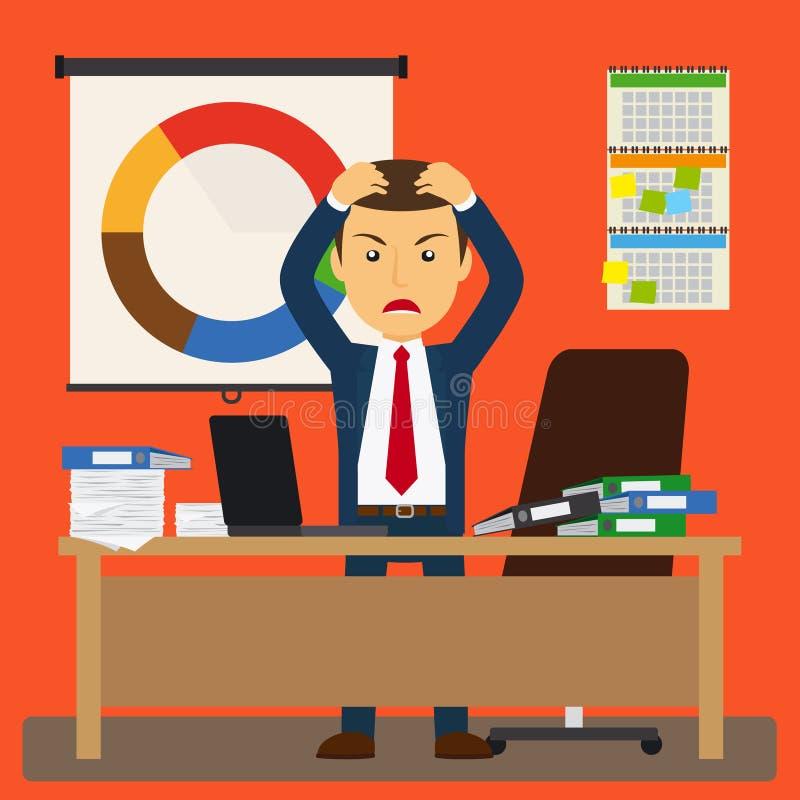 Tensión del hombre de negocios en el trabajo ilustración del vector