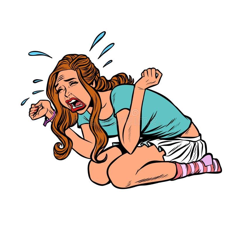 Tensión gritadora del pánico de la histeria de la muchacha hermosa joven ilustración del vector