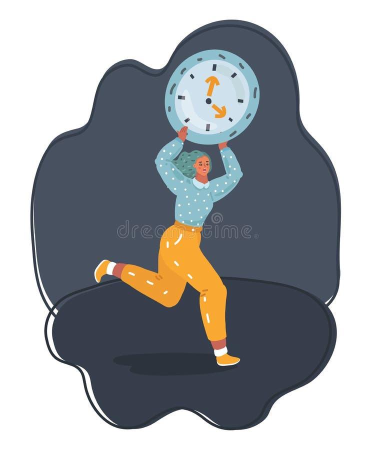 Tensión - mujer que corre tarde con el reloj en el brazo ilustración del vector