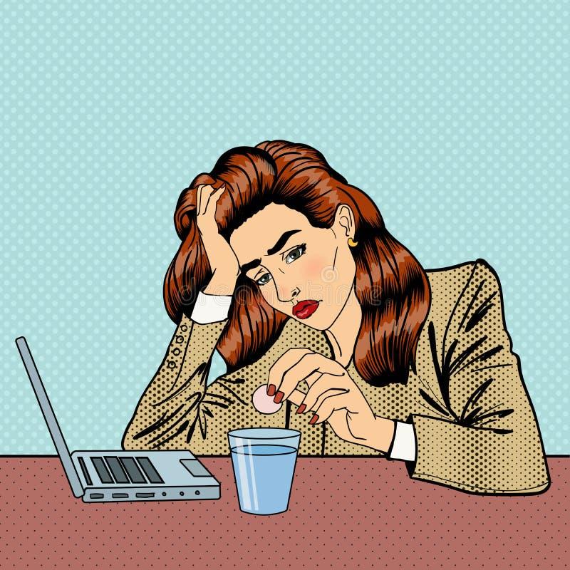 Tension au travail Pillules potables de fille Femme d'affaires - 2 illustration stock