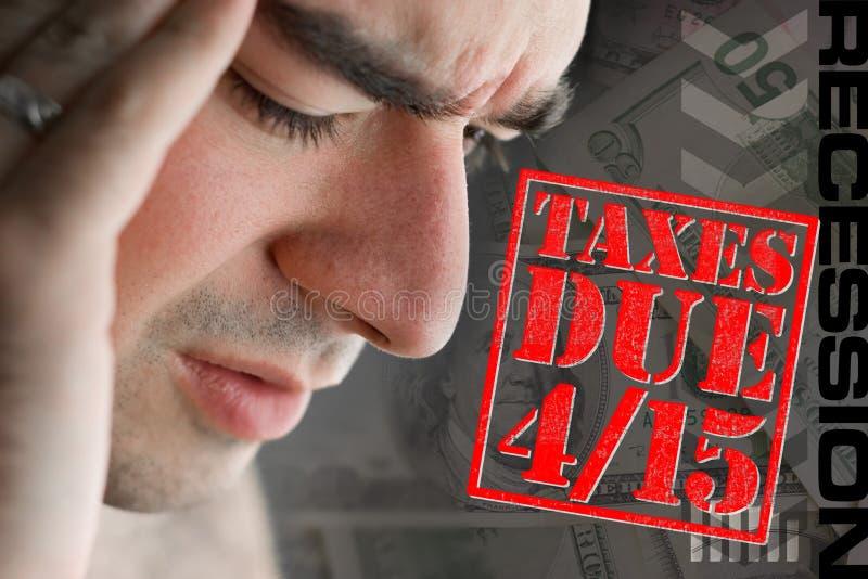 Tensionado sobre los impuestos debidos foto de archivo libre de regalías