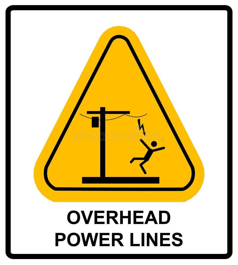 Tensione pericolosa qui sopra Insegna d'avvertimento di vettore illustrazione di stock