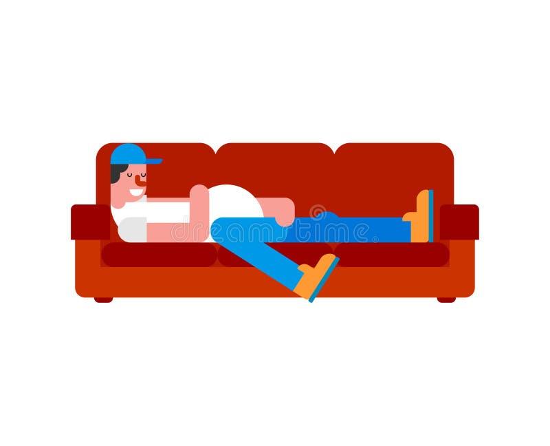Tensor no sofá O indivíduo preguiçoso da pessoa está encontrando-se no sofá ilustração stock