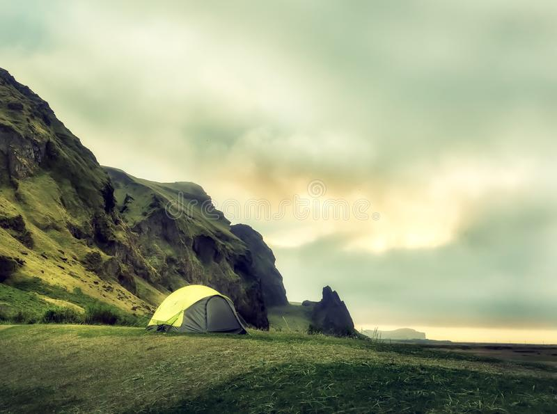 Tent amid incredible views of Iceland. royalty free stock photos