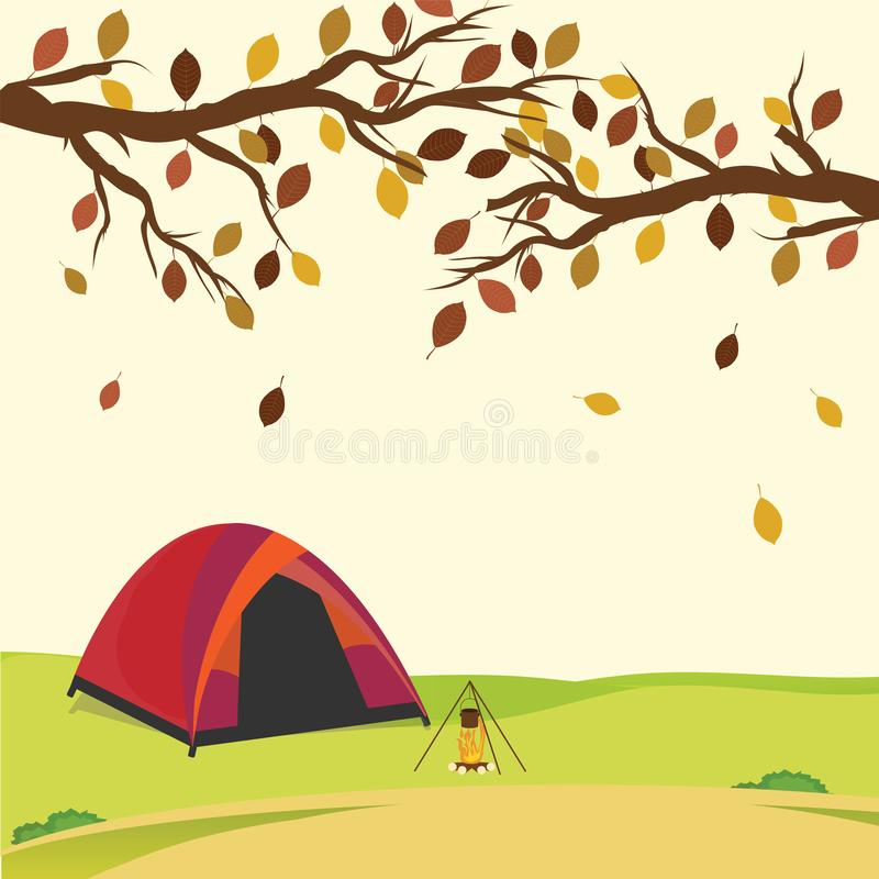 Tent in the autumn forest. stock illustration