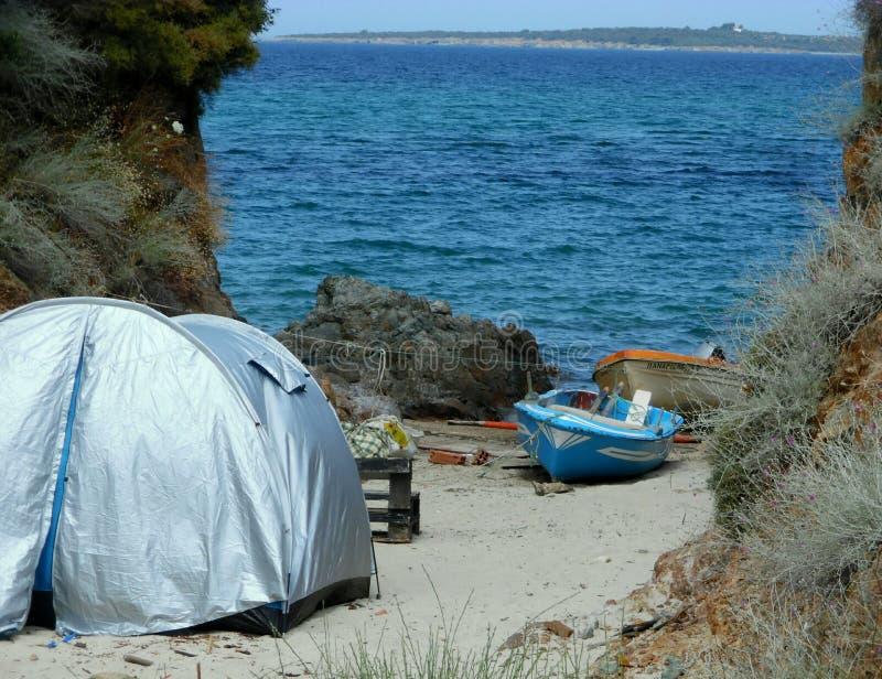 Tent on the beach stock photos