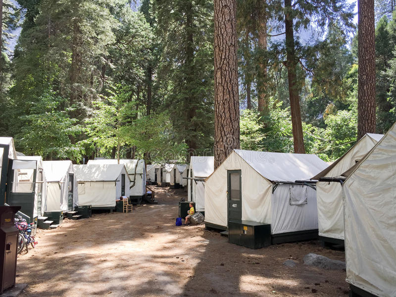 Tent Cabins Accommodations. Tent cabin accommodations at Yosemite Valley royalty free stock photos
